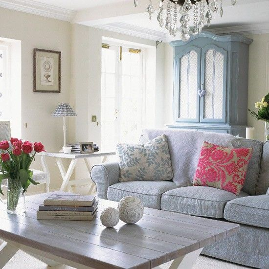 French-style living room - I love how light and bright the room is.