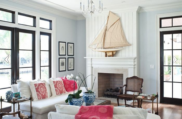 Nautical Themed Blue and Pink Living Room @Layla Grayce